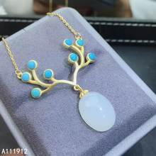 KJJEAXCMY fine jewelry natural white jade Blue Turquoise 925 sterling silver women pendant necklace chain support test exquisite