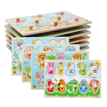 Montessori Wooden Toys Jigsaw Puzzle 3D Animal Fruit Traffic Hand Grab Board Educational Toys For Children Baby Puzzles For Kids