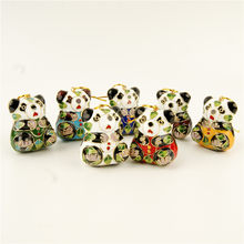 Wholesale 10PCS cloisonne enamel panda Christmas decoration Chinese style features(China)