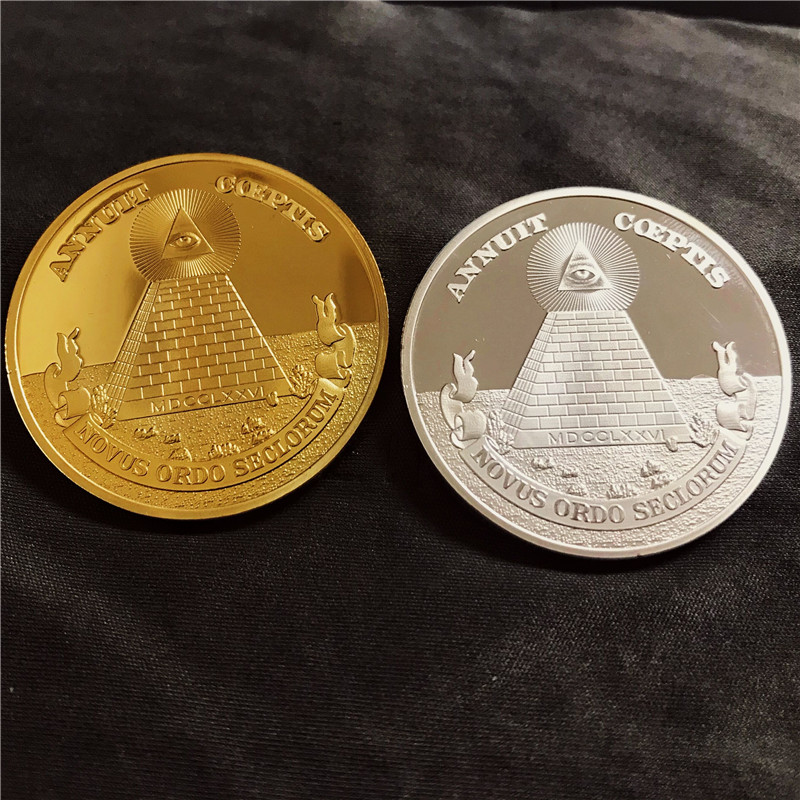Masonic Challenge Coins Freemason with All-seeing Eye US Dollar Gold/Silver Coin with Pyramid Masonic Coin Collection Souvenir
