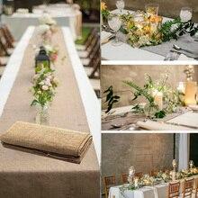 Burlap Table Runner Jute Imitated Linen Tablecloth Rustic Wedding Party Banquet Decoration Home Textiles overlay camino de mesa