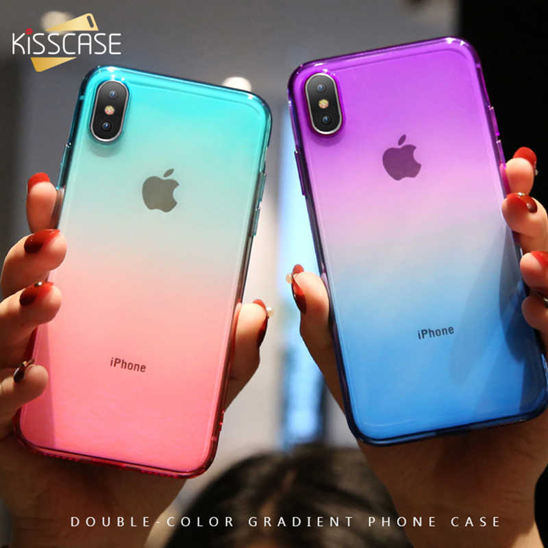 Kisscase gradien caso para iphone 11 claro caso macio para iphone 7 casos para iphone 11 pro max xr/xs max/x 6/6 s/7/8 mais coque