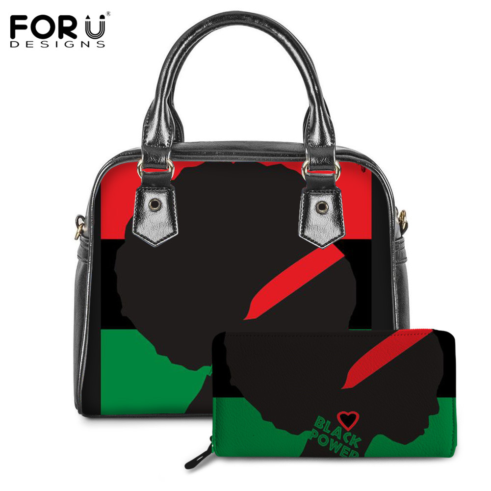 FORUDESIGNS Black Power Pattern Ladies Daily Shoulder/Messager/Crossbody Bag&Pure Sets African UNIA Flag Handbag Sac Main Femme