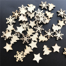 50pcs Wooden Christmas Tree Stars Snowflakes DIY Hanging Ornaments Pendant Table Confetti Decorations G