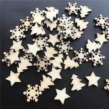 50pcs Wooden Christmas Tree Stars Snowflakes DIY Christmas Hanging Ornaments Pendant Table Confetti Christmas Decorations G цена в Москве и Питере