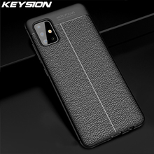 KEYSION Leather Litchi Case For Samsung Galaxy A51 A71 A81 A91 Shockproof Silicone Phone Cover for Samsung M30S M40S M60S M80S