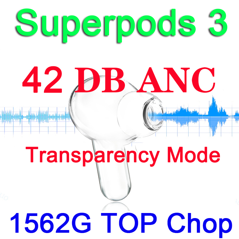 42db hybriy anc superpods 3 tws wirelesss fones de ouvido bluetooth 1562g chip 12d super bass 11 com texto anc digital mic