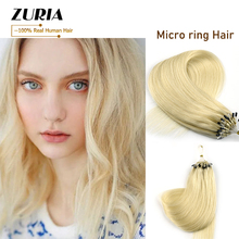 ZURIA Micro Ring Hair Extensions Non-Remy Blonde Brown Micro Bead Loop 100% Natural Human Hair Extension 16