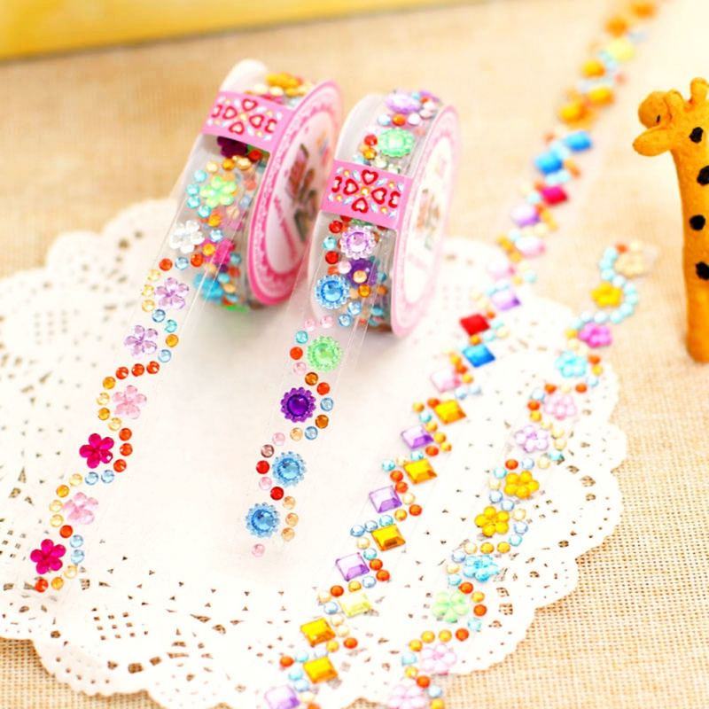 Crystal Colorful Acrylic Rhinestone Roll Sticker Self-Adhesive Ribbon Tape Stickers Children DIY Toy For Scrapbooking Decoration