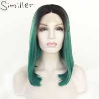 Similler Short Women Bob Ombre Synthetic Lace Front Wigs Straight Middle Parting Green Wigs Heat Resistant