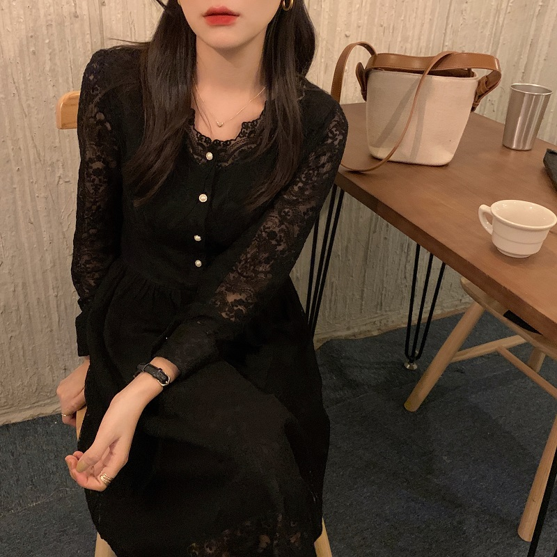 H0534fa214694422cb0fa61ef179613330 - Spring / Autumn V-Neck Long Sleeves Lace Midi Dress
