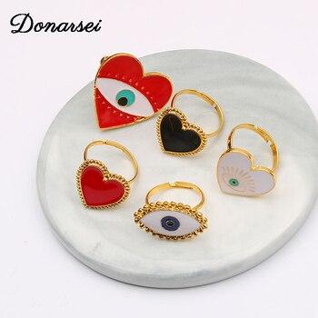 Donarsei 2019 nueva moda ojos malvados anillos abiertos para mujeres ajustable ojos del diablo corazón dedo anillos fiesta