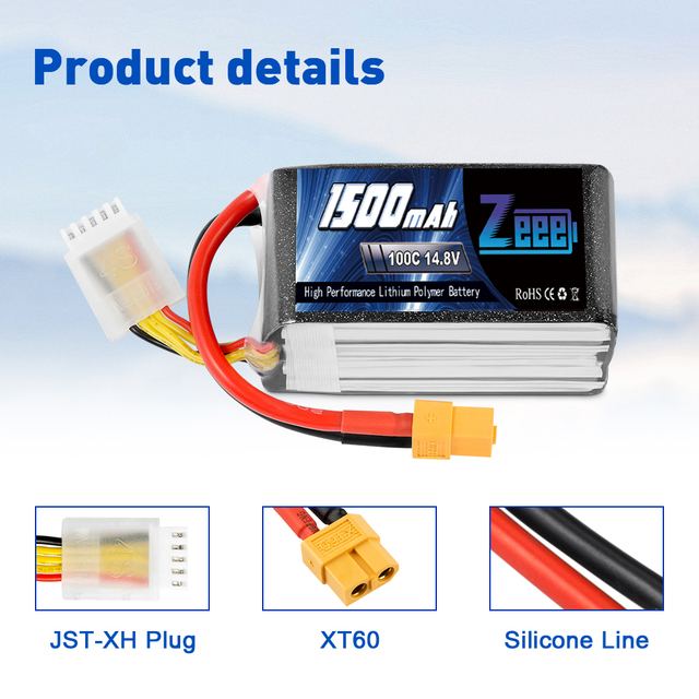 2units Zeee 4S 14.8V 1500mAh 100C Lipo Battery with XT60 Connector Softcase Lipo Battery for RC Car Truck Airplane FPV UAV Drone 2