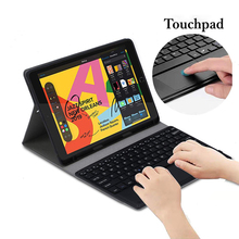 For iPad 10.2 7th Gen 2019 Bluetooth Keyboard with Touchpad Pencil Holder Leather Tablet Magnetic Detachable USA Keyboard Case