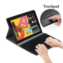 Para iPad 10,2 7ª generación 2019, teclado Bluetooth con Touchpad, soporte para lápiz, tableta de cuero, magnético desmontable, funda para teclado de EE. UU.