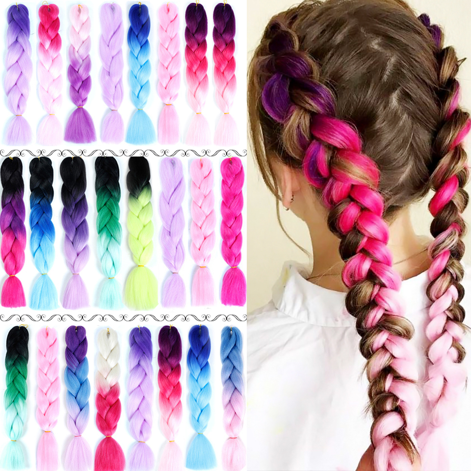 24 Inches Colorful Synthetic Jumbo Hair Braids Pink African Afro Box Ombre Braiding Hair Extensions Headbands For Women Headwear