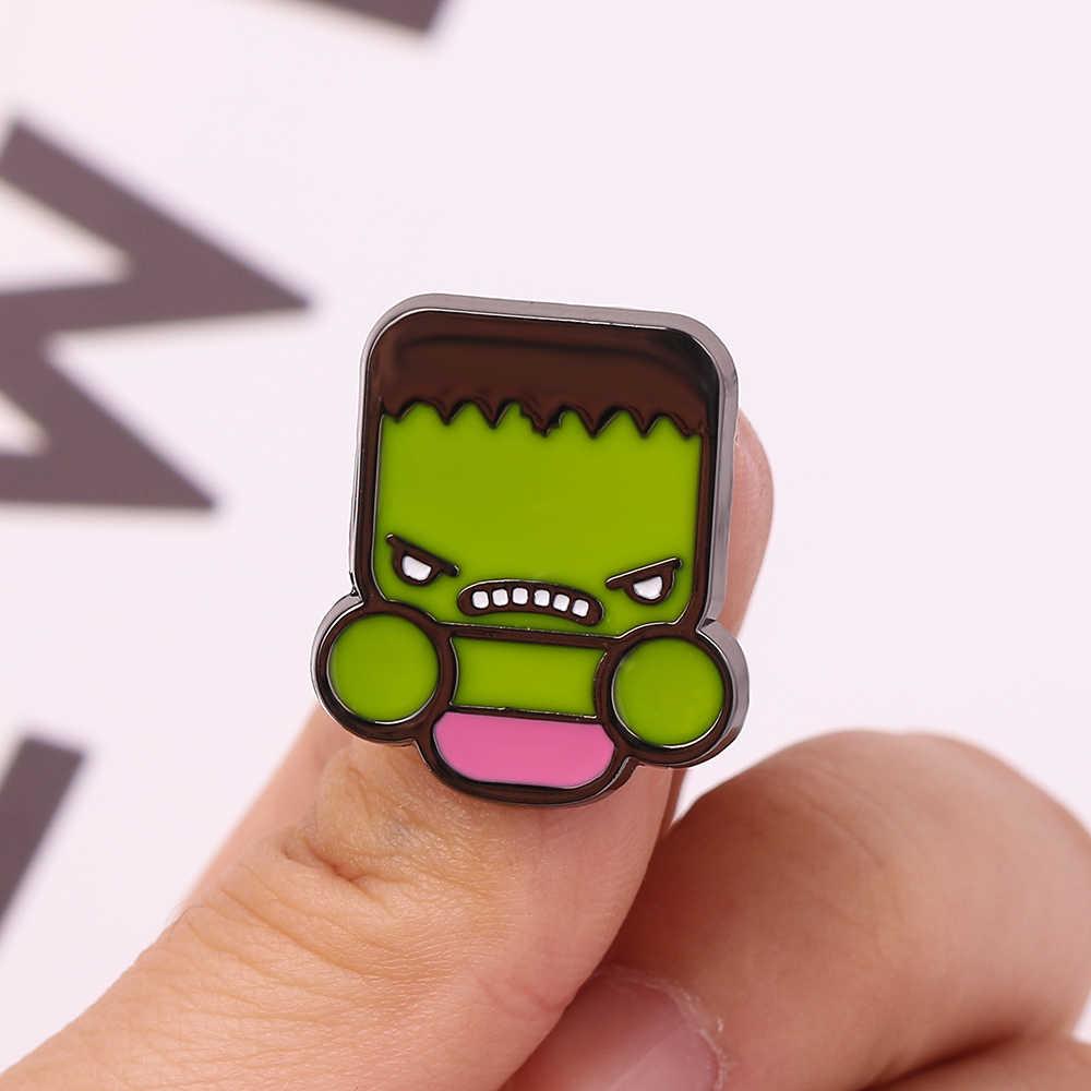 Superhero Green Giant Hulk Kartun Enamel Pin Marvel Seri Avengers Logam Bros Lucu Tas Topi Aksesoris Pakaian untuk Anak