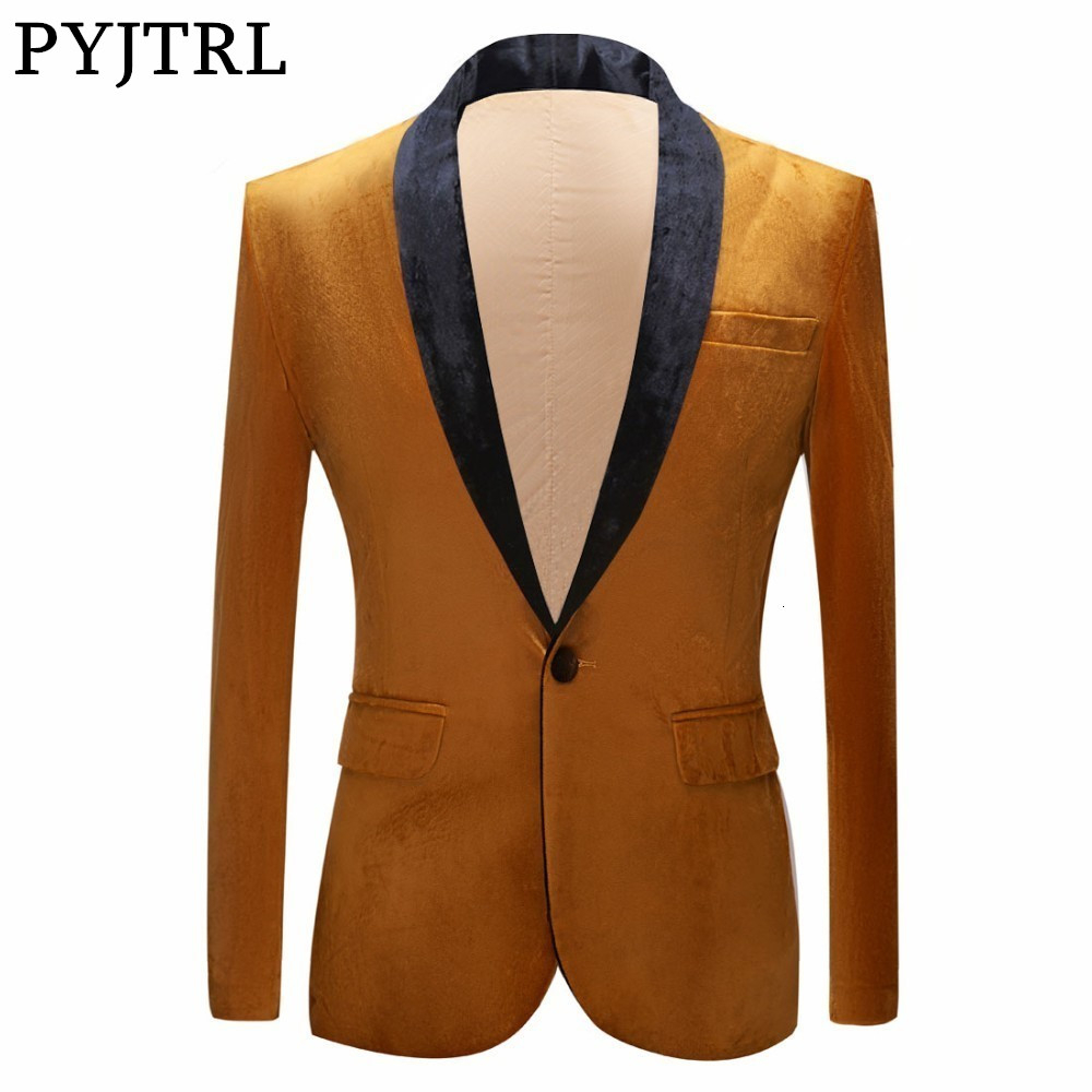 PYJTRL Autumn Winter Wedding Groom Shawl Lapel Gold Blazer For Men Shiny Velvet Suit Jacket Stage Singers Prom Slim Fit Blazers