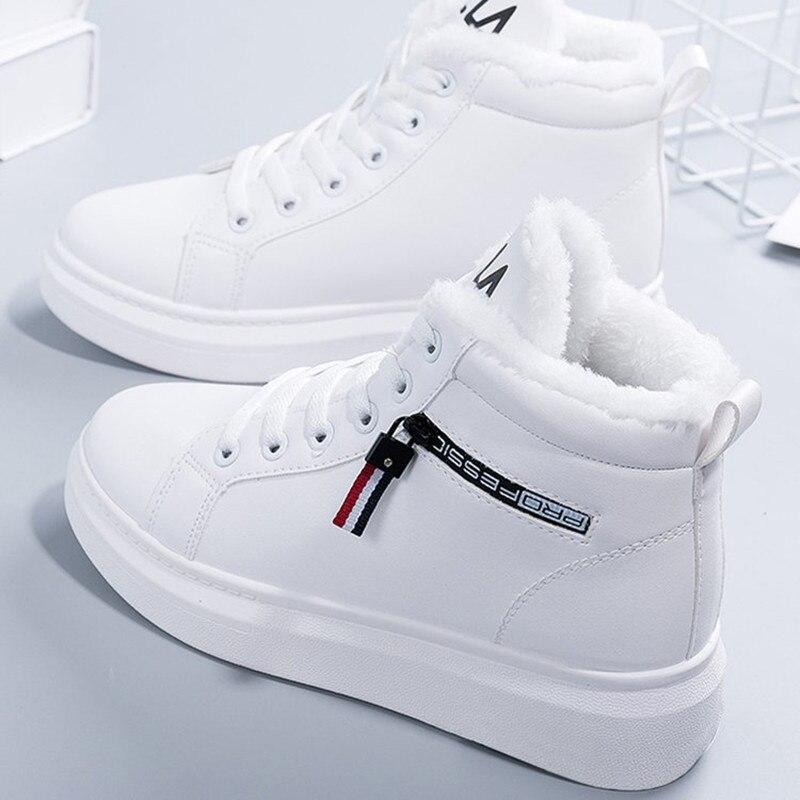 Новинка 2020 года; Зимние ботинки; Женские ботильоны; Теплая зимняя женская обувь из искусственной кожи с плюшем; Кроссовки на плоской подошве; Женская обувь на шнуровке; Женские короткие зимние ботинки|Зимние сапоги| | АлиЭкспресс