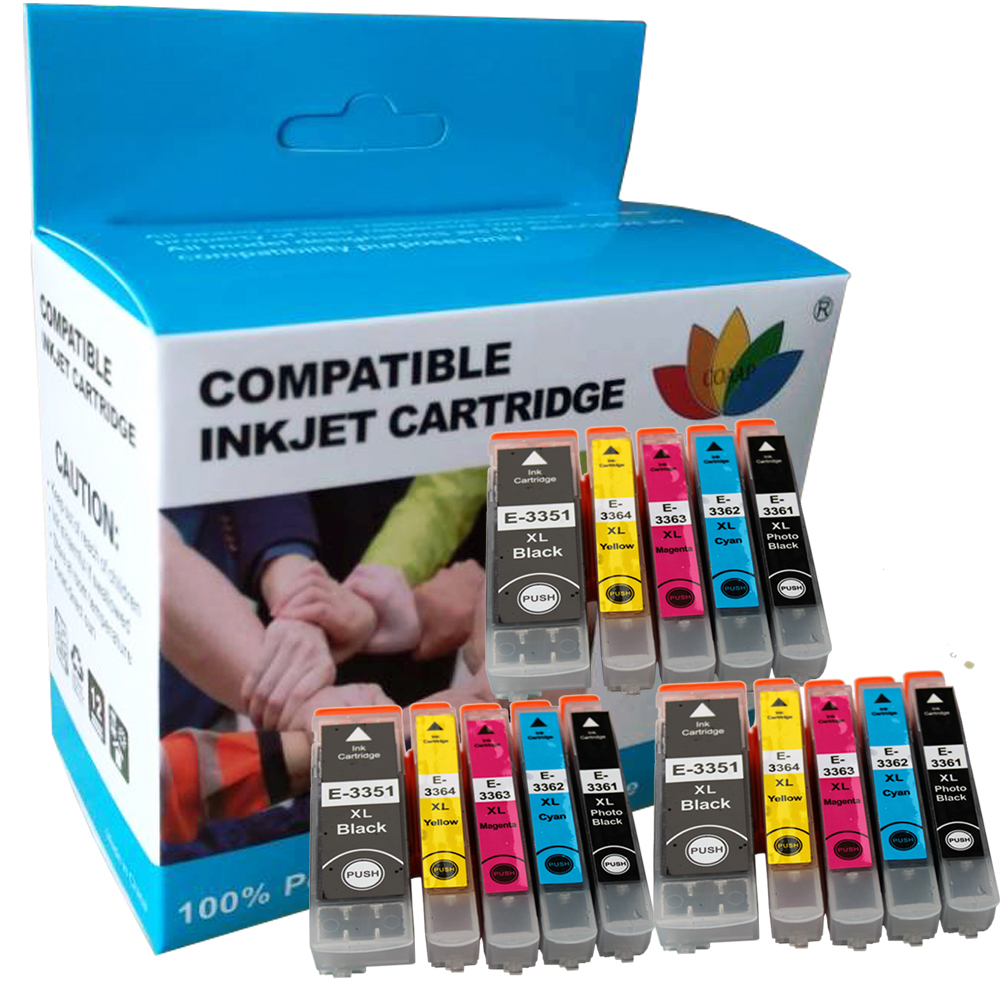 15 шт., картриджи для принтера EPSON, совместимые с 33XL T3351 T3361 T3362 T3363 T3364