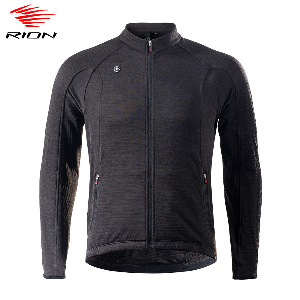 RION Mens Cycling Jersey 2020 Spring Thermal Fleece Long Sleeve Road Bike Jersey MTB Downhill Cycling Clothing Maillot Ciclismo