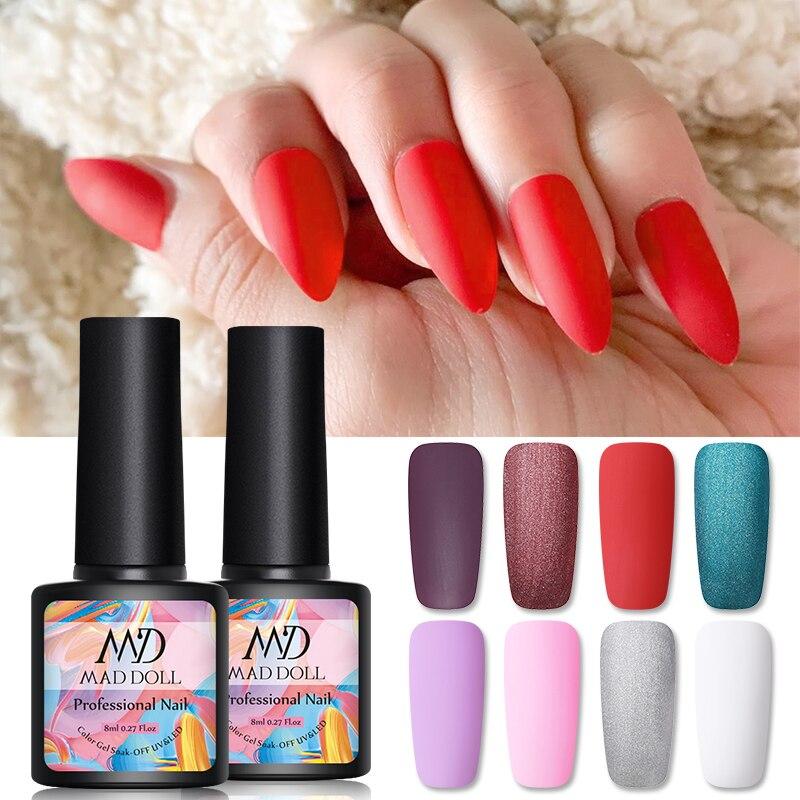MAD DOLL 8ml Matte Nail UV Gel 8 Color Frosted Surface UV Gel Polish Soak Off LED UV Nail Art Gel Varnish Varnish