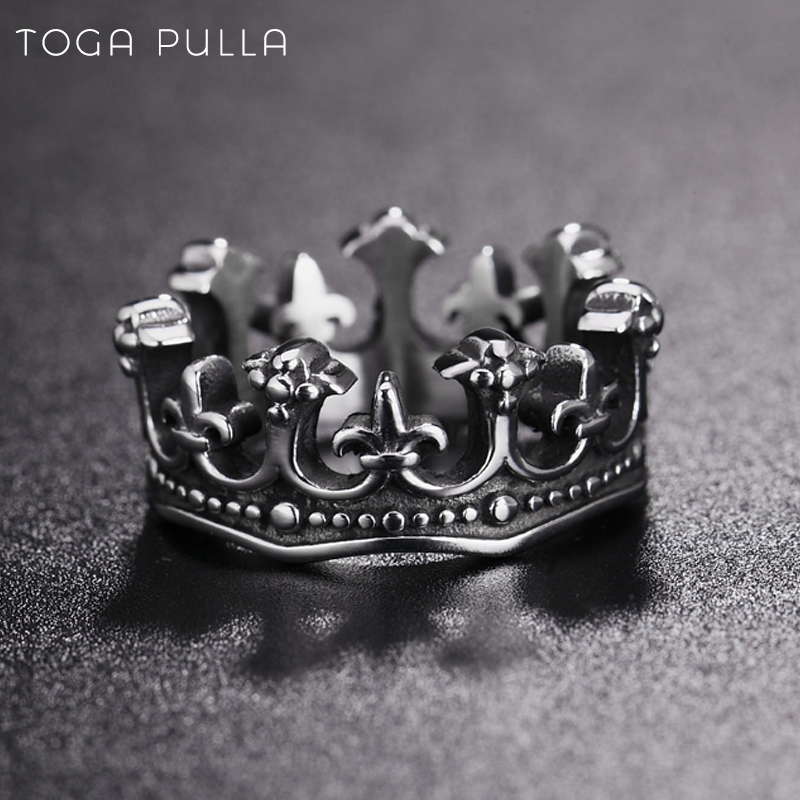 Vintage Gothic Crown Ring Men Women 316L Stainless Steel Punk Biker Ring Male Hip Hop Jewelry Size 7-13