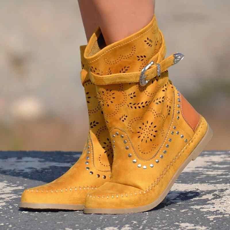 Güzel BOHO çizmeler kadın ayakkabıları kadın düz topuk Slip-On kısa çizmeler Retro perçin toka nakış platformu kadın Zapatos De Mujer