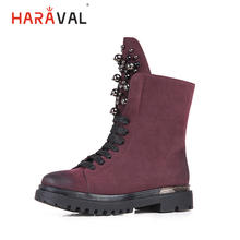 HARAVAL Fashion Luxury Children Winter Ankle Boots High Quality Warm Flock Round Toe Soft Heel Shoes Solid Casual Girl