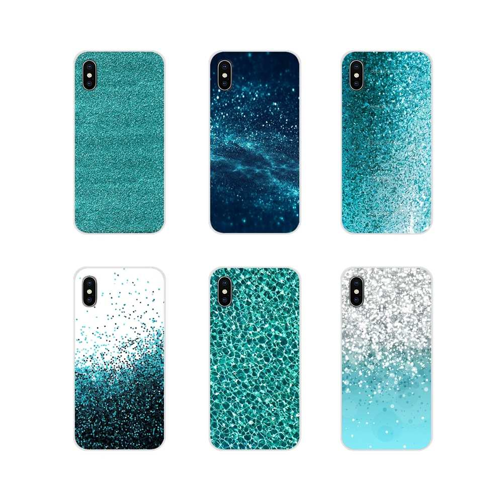 For Apple iPhone X XR XS 11Pro MAX 4S 5S 5C SE 6S 7 8 Plus ipod touch 5 6 Soft Transparent Case Covers Teal Blue Glitter Amazing
