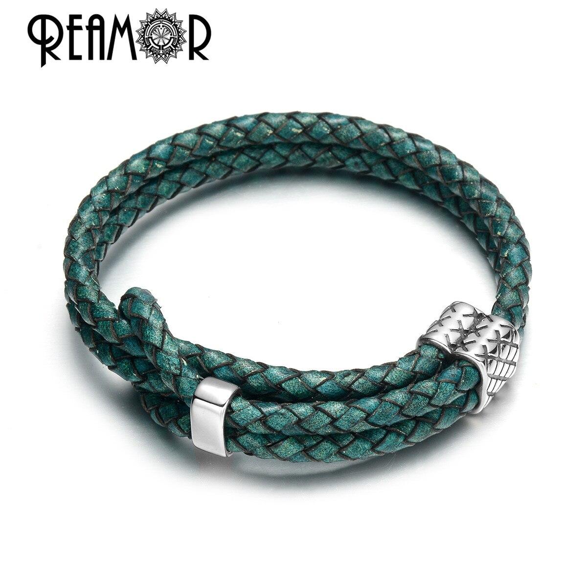 REAMOR Retro Green Blue Cowhide Genuine Leather Adjustable Bracelet Men Stainless steel Beads Handmade Braided Bracelets Bangles