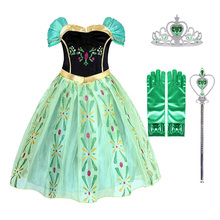 Girls Anna Princess Dress Kids Costume with Crown Wig Elza Snow Queen Children Birthday Halloween Party Cosplay Dress muababy girl anna dress up clothes with cape children long sleeve floral applique snow queen cosplay costume for halloween party