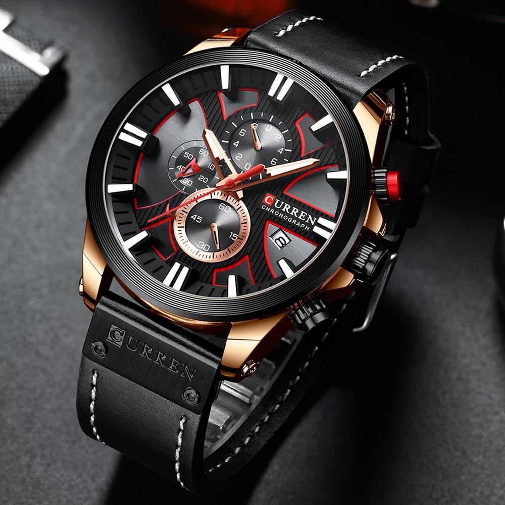 CURREN Watch Chronograph Sport Mens Watches Quartz Clock Leather Male Wristwatch Relogio Masculino Fashion Gift for Men 6