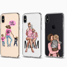 VOGUE Female boss coffee girls Boys Black Brown Hair Baby Mom Minnie Soft Phone Cases For iPhone SE 5s 6S 7 8 Plus X XR XS MAX(China)