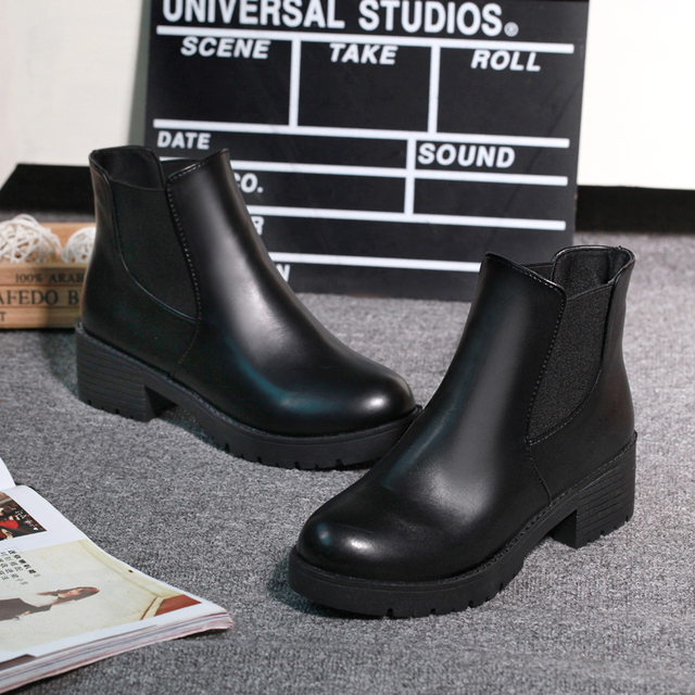 2020 new hot style fashion women boots round head thick bottom pu leather waterproof woman snow boots free shipping c158