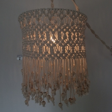 Hand woven cotton lampshade bohemian style woven pendant living room and bedroom decoration