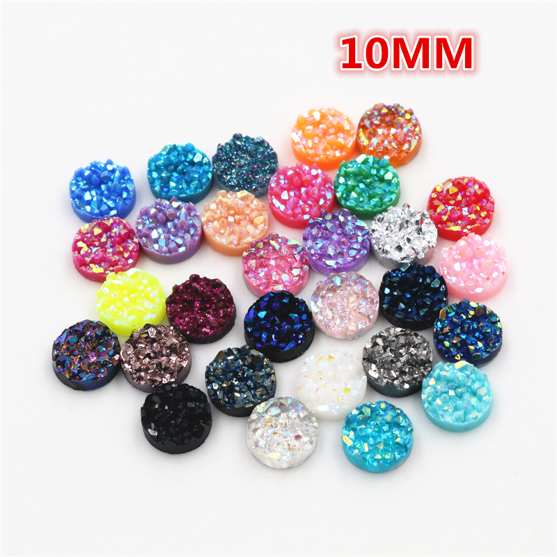 New Fashion 10mm 40pcs/Lot Mix AB Colors Natural Ore Style Flat Back Resin Cabochons For Bracelet Earrings Accessories