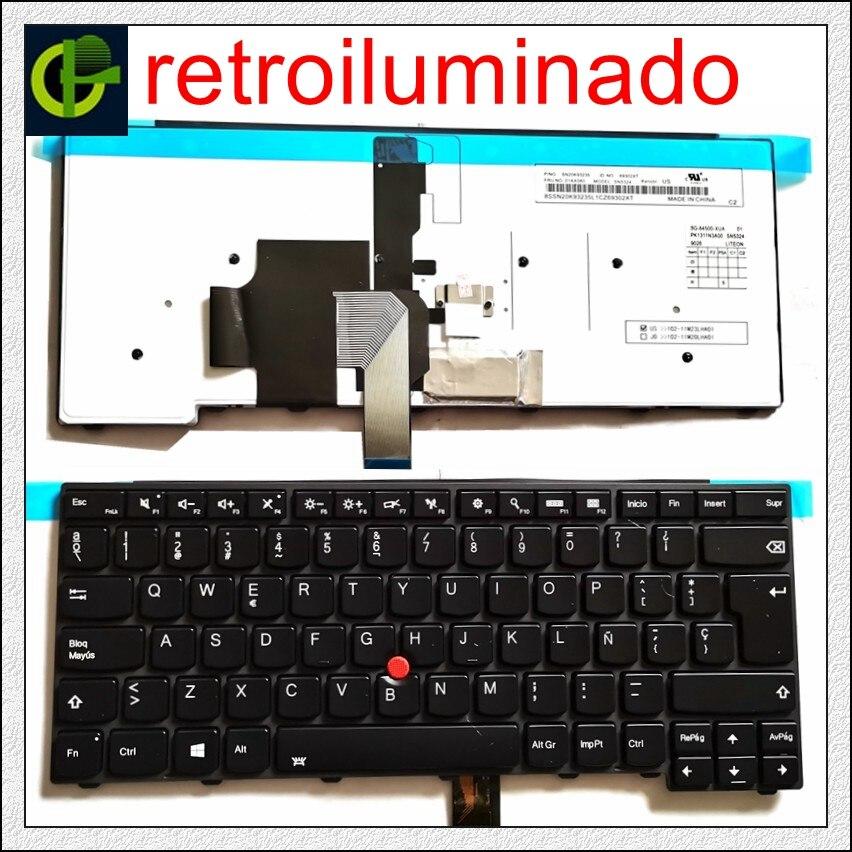 Backlit Teclado espanhol para lenovo ThinkPad L440 L450 L460 L470 T431S T440 T440P T440S T450 T450S e440 e431S T460 SP LA Latina