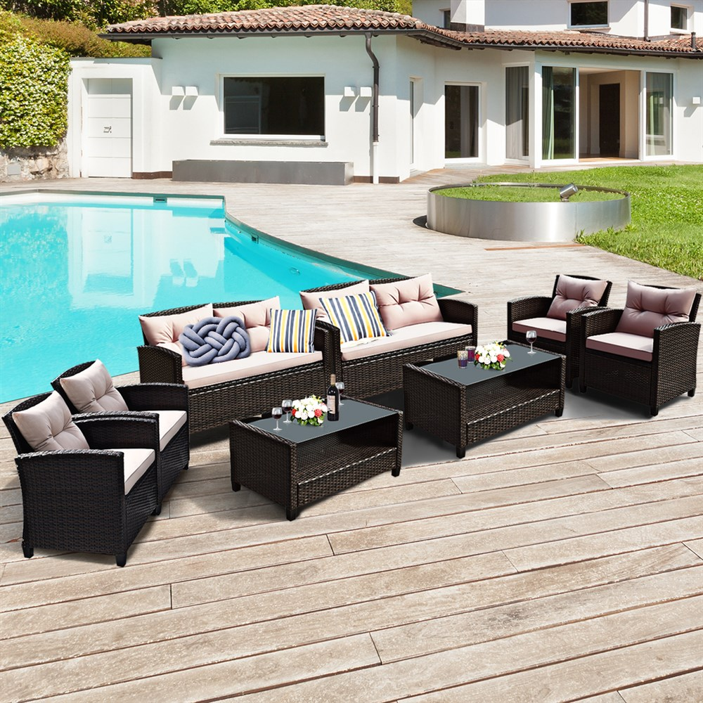 Costway 8PCS Outdoor Rattan Furniture Set Cushioned Sofa Armrest Table