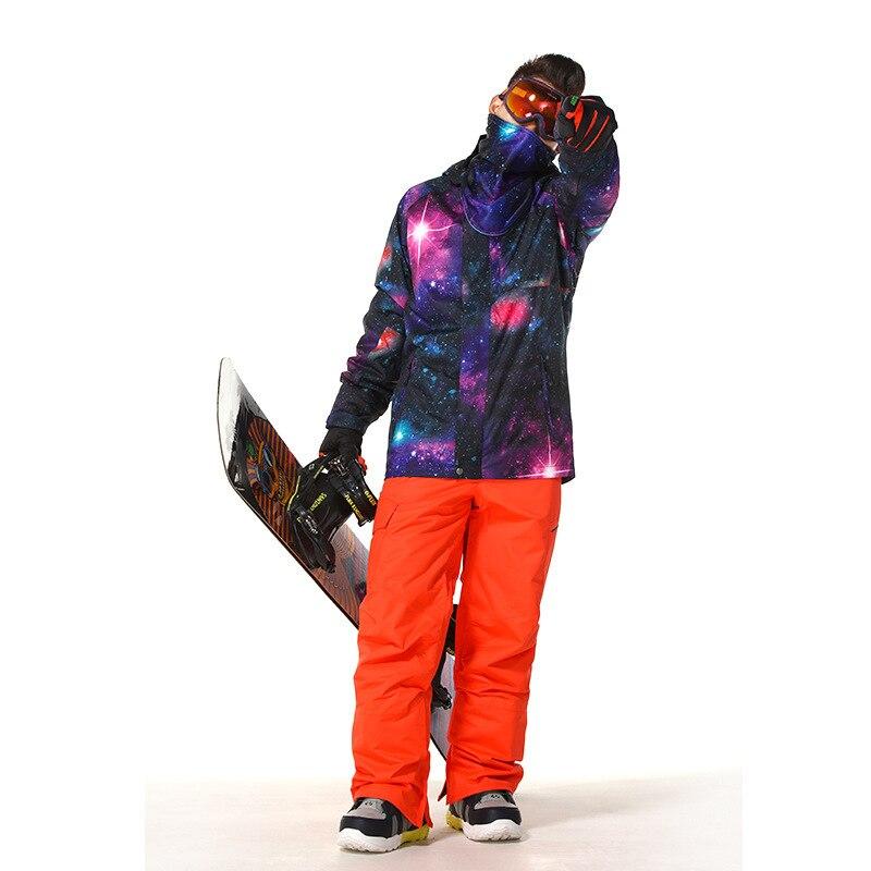 Mode noir hommes combinaison de neige ensembles Sports de plein air snowboard vêtements 10K imperméable coupe-vent respirant veste de Ski + pantalon de neige