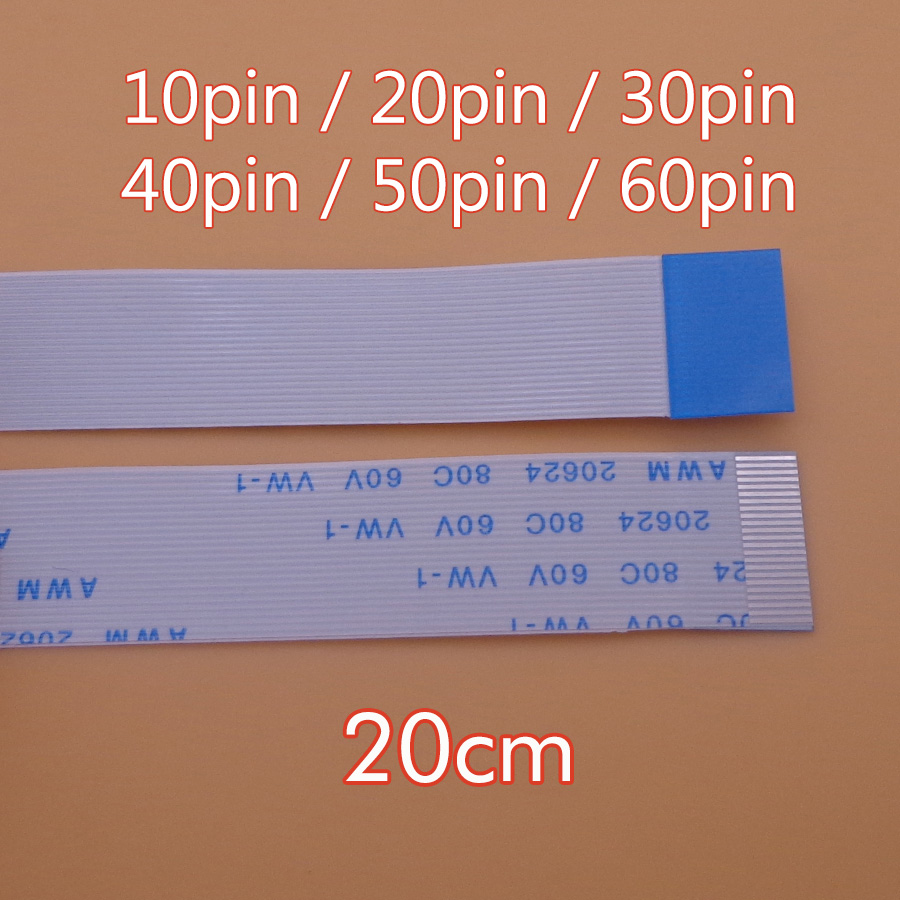 Плоский гибкий кабель FFC/FPC, 2 шт., 10 / 20 / 30 / 40 / 50 / 60 контактов, тип A/B, шаг 0,5 мм, Приблизительно 20624, 80C, 60 в, длина 20 см, 20 см, 200 мм