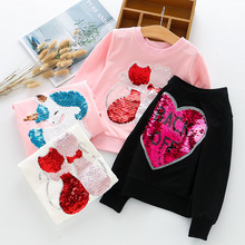 Осенние футболки для девочек, футболки для девочек с блестками и сердечками, Детские рубашки, Детская футболка с длинными рукавами, одежда