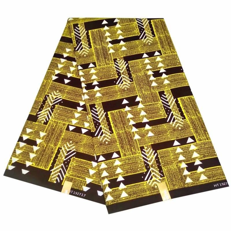 Yellow Geometric Figure New Arrival African Wax Print 100% Polyester High Quality Ankara Kente Tissue Fabric 6yards S601-7