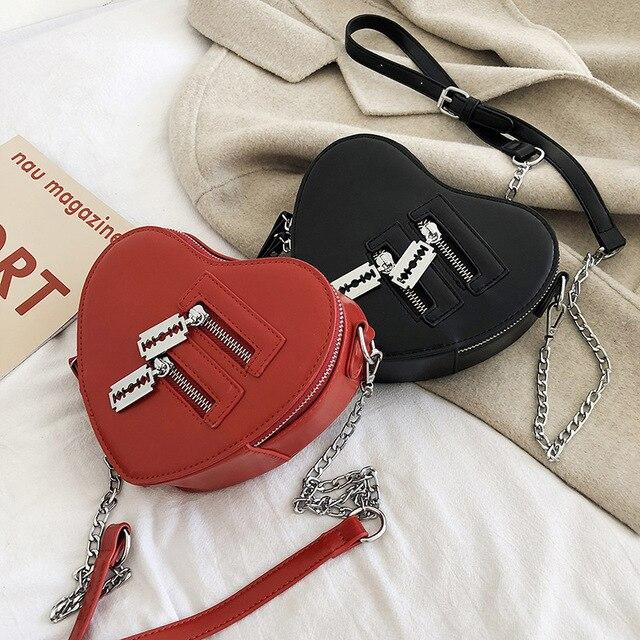 נשים ארנקי תיק אופנה אדום אהבת לב צורת כתף תיק נשים שרשרת Crossbody תיק גבירותיי ארנק מצמד תיק