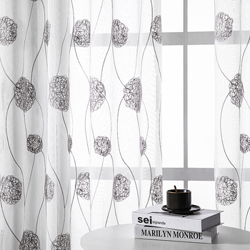 Embroidered Tulle Curtains Window for Living Room Bedroom Modern Floral Sheer Curtains for Kitchen Window Screening Voile Drapes beige polyester flannel europe embroidered blackout curtains for living room bedroom window tulle curtains home hotel villa