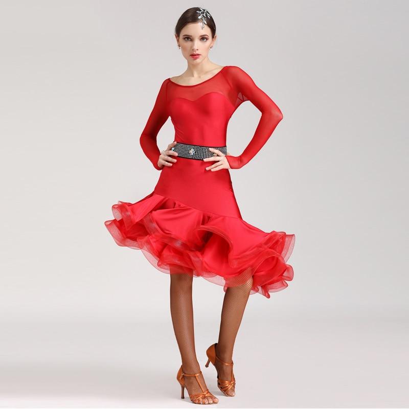 Nouvelle robe de danse latine Sexy salle de bal compétition danse porter Cha Cha Rumba manches longues poisson os jupe pratique vêtements DWY2184