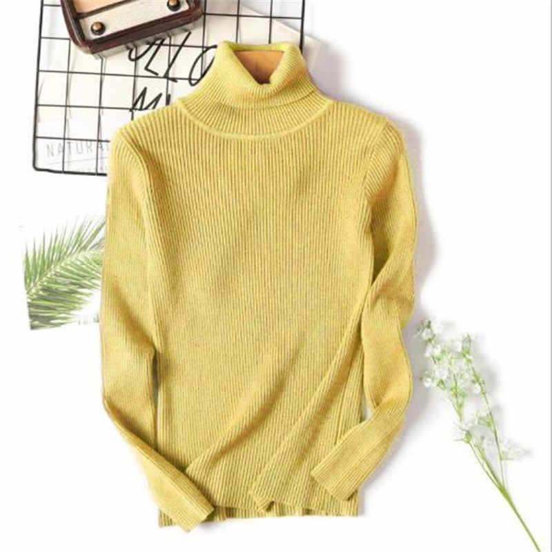 Sitaicery 2019 hiver automne femmes col roulé tricoté pull col haut décontracté doux Polo cou-cou pull mode mince Pullov