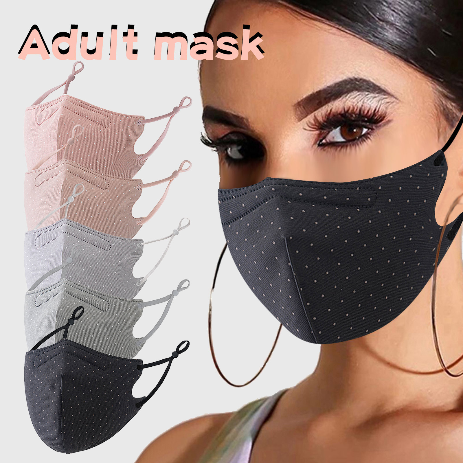 Респиратор многоразовый с принтом в горошек для женщин и взрослых, регулируемая моющаяся защитная маска для лица, 1 шт.
