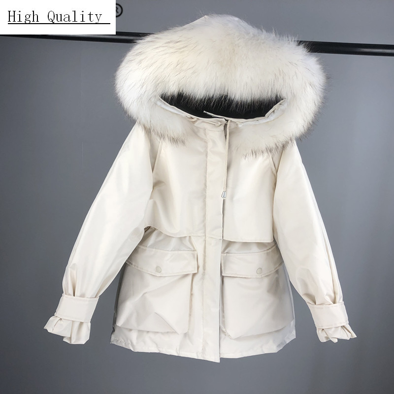 Genuine Real Down Jacket Women/'s Thick Jacket Hooded Fur Collar Winter Coat Warm