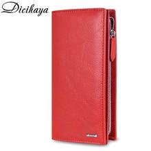 DICIHAYA billeteras de estilo largo para mujer, cartera multifuncional, monedero con cremallera, cartera para mujer de cuero genuino